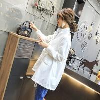 韩版风衣女春装2018新款女装时尚百搭立领收腰抽带中长款外套潮 白色 M