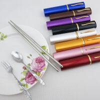 韩式笔筒式旅行餐具 户外餐具 野营餐具三件套出差旅游便携式可伸缩餐具三件套折叠筷子叉勺