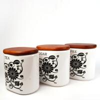 陶瓷密封罐三件套储藏罐零食罐罐黑色家用厨房陶瓷大容量密封罐奶粉茶叶罐杂粮零食储物罐咖啡糖罐