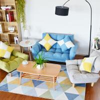 双人沙发组合小户型客厅懒人沙发床 可折叠两用简约拼色布艺沙发 一双人两单人组合 颜色留言