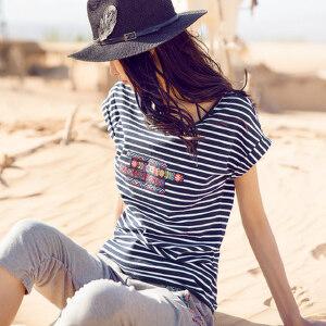 裂帛2017夏装新款贴布刺绣圆领针织短袖衫直筒条纹T恤女51160098