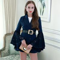 MIUCO欧洲站女装2018春新款蕾丝喇叭袖西装外套+高腰短裤两件套装