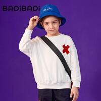 【周年庆3件2折:50】巴拉巴拉旗下 巴帝巴帝男童卫衣19春新款黑白简约圆领中大童
