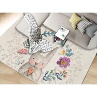 儿童房卡通地毯地垫可爱潮牌ins地毯卧室床边满铺房间可爱粉红少女心卡通网红公主房地垫 灰色 兔大师
