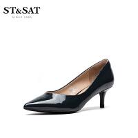 ST&SAT星期六新款尖�^�\口�跟高跟�涡�女鞋SS93111158