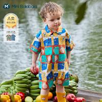 迷你巴拉巴拉婴儿衣服2021夏装男童宝宝韩版洋气衬衫连体衣爬服