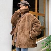 冬季新款韩版原宿风bf皮毛一体机车夹克羊羔毛加厚外套女学生棉衣