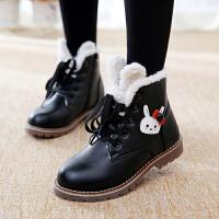 女童靴子秋季短靴韩版真皮公主棉鞋卡通大童百搭加绒马丁儿童鞋