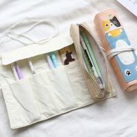 包邮日韩可爱卷卷笔袋 帆布笔帘 两用多功能创意学生个性铅笔袋文具袋