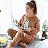 珊瑚绒睡衣女秋冬季加厚保暖法兰绒可外穿甜美可爱韩版家居服套装