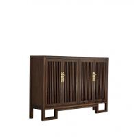 新中式家具老榆木餐边柜实木储物柜书柜门厅玄关柜鞋柜胡桃木色 4门