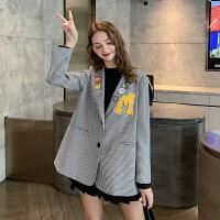 MG小象显瘦小西装外套女秋季2019新款韩版设计感小众格子宽松西服