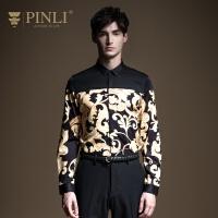 PINLI品立2020春季新款男装修身英伦印花休闲长袖衬衫B201313038