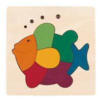 Hape创意拼图-彩虹鱼儿童早教木质拼图玩具E6502