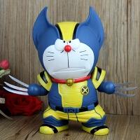 大号哆啦A梦COS金刚狼 美国队长叮当公仔摆件 机器猫手办模型玩偶