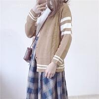 春装新款女装韩版学院风高腰格子半身裙+毛衣针织开衫外套套装女 浅卡其毛衣外套 均码