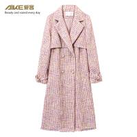 【3折到手价:198元】 爱客女装18chic冬季新款韩版外套女粗呢翻领系带中长款外套