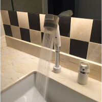 洗手盆水龙头 双孔可抽拉式面盆水龙头冷热伸缩双孔洗脸盆卫生间台盆家用升降 白色
