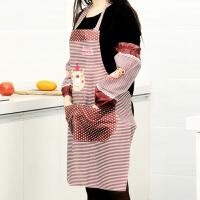 普润 卡通小熊围裙护袖套装(袖套+围裙)厨房用围裙家用厨房防污工作服 家务保洁围腰
