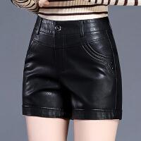 秋冬新款时尚皮短裤女高腰黑色百搭外穿皮直筒显瘦打底靴裤