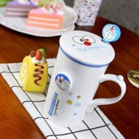 包邮 叮当猫创意马克杯 卡通叮当表情陶瓷杯 带盖带勺咖啡杯 水杯