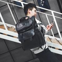 2018新款双肩包男潮牌时尚潮流高中学生书包韩版百搭情侣背包 升级版PU皮带充电口+耳机线预售10天