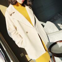 欧美秋装新款西装领两粒金属扣毛呢大衣羊毛外套上衣女 奶酪色