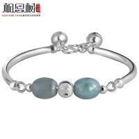 相思树 手镯女款 990纯银玉石转运珠手链 纯银饰品SZ006