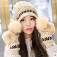 毛线帽子女冬季时尚针织帽韩版潮百搭护耳帽甜美可爱加厚保暖