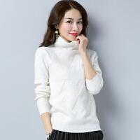 白领公社 针织衫 女士秋冬新款韩版修身娃娃领毛衣女式长袖套头短款学生针织毛衫