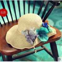 女款手工太阳帽蝴蝶 兰折边女士夏 天遮阳 草帽宽檐防晒可折叠沙滩帽透气