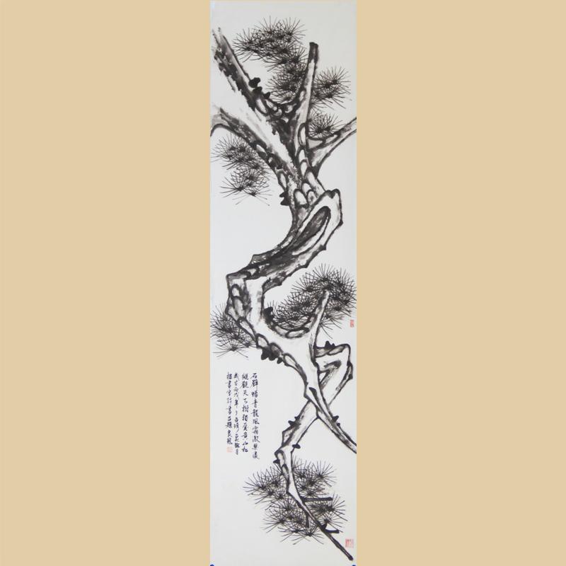 台湾书画艺术家张良恩先生国画:松