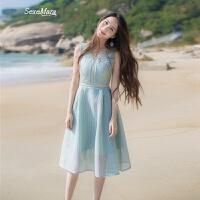 2018夏季新款女装修身V领收腰无袖镂空ins超火的连衣裙中长款裙子 薄荷绿