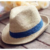 2018新品特细拉菲草帽子韩版男士礼帽女夏天出游海边遮阳防晒沙滩帽爵士帽 可调节