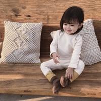 女童冬季简约居家服套装儿童加绒打底衫高腰护肚裤两件套