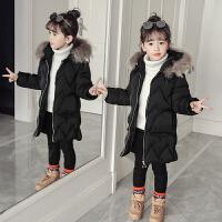 女童装2017新款韩版棉衣儿童中长款羽绒季小孩外套加厚潮 黑色 毛领可拆卸年货款