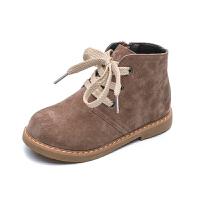 儿童马丁靴秋冬新款加绒保暖女童真皮鞋子男孩百搭防滑英伦短靴潮