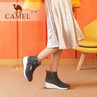 camel��女鞋冬季新品短靴 �r尚休�e�n版百搭厚底坡跟靴子�r�b靴
