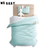 [当当自营]wz.baby儿童针织棉被套枕套枕芯被芯三套件120*150cm绿