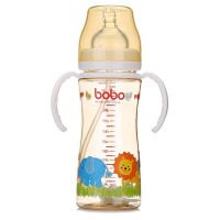 【当当自营】乐儿宝(bobo) PPSU自动宽口径奶瓶260ml 变流量 带手柄 吸管 白色 婴儿奶瓶BP632B-W新老包装替换中