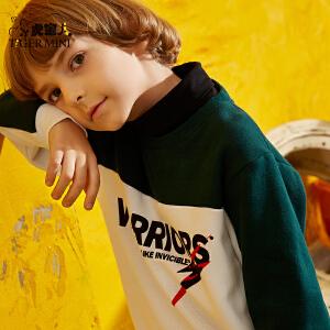 【2件5折】小虎宝儿童装男童加绒卫衣2018新款中大童春秋装上衣儿童休闲运动圆领套头外套潮
