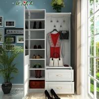 现代简约欧式吸塑门厅柜鞋柜衣帽柜带穿衣镜客厅玄关隔断柜子 组装