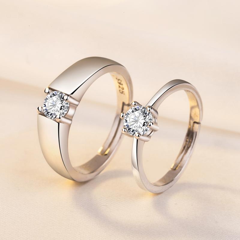925纯银戒指男女情侣饰品简约学生对戒钻戒开口结婚一对刻字
