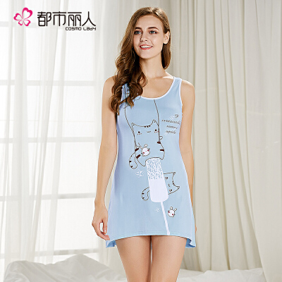 【可用30券】都市丽人舒适无袖家居服薄款简约可爱卡通连体裙睡衣女2H7604