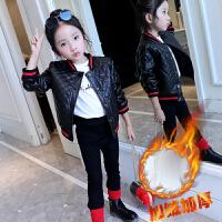 女童加绒加厚2017秋装新款棉衣中小大童皮棉衣夹克pu皮外套 黑色(2245H加绒皮衣) 女童皮衣夹克