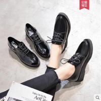 女鞋黑色漆皮两穿单鞋女百搭英伦风ins复古小皮鞋