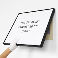 经纬度坐标电表箱装饰画北欧免打孔电闸开关壁画个性创意挂画 50x60cm嵌框_可遮挡43x53 黑色 单幅