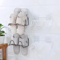 铁艺鞋架浴室拖鞋架子双层创意粘贴式置物架简艺壁挂式鞋子收纳架