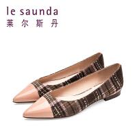 【顺丰包邮,大牌价:399】莱尔斯丹 春夏低跟女鞋格子尖头平底女单鞋9T11701