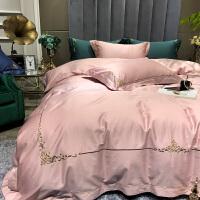 床上四件套全棉纯棉简约刺绣欧式60支长绒棉床上用品夏季床单被套